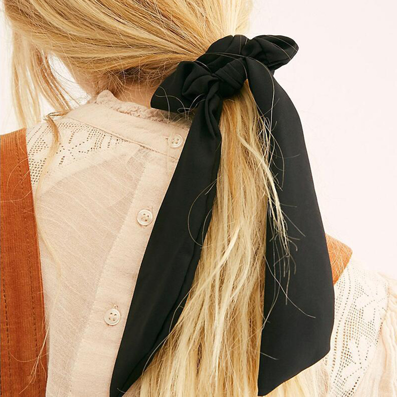 Soft Elastic Hair Ties Solid Color Long Streamer Streamers Hair Bands Summer Large Intestine Hair Band Girl Hair Accessoires