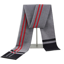 Mens Scarves Winter European and American Fashion Scarf Casual Striped Cotton Men