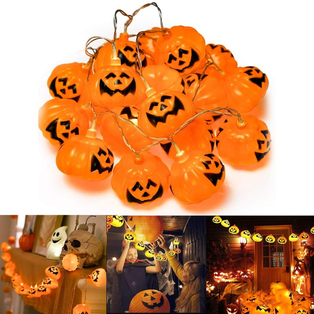 20 LED Halloween Pumpkin LED Light Lanterns Battery Powered Pumpkin String Lights Decoration For Indoor Outdoor Party Ideas