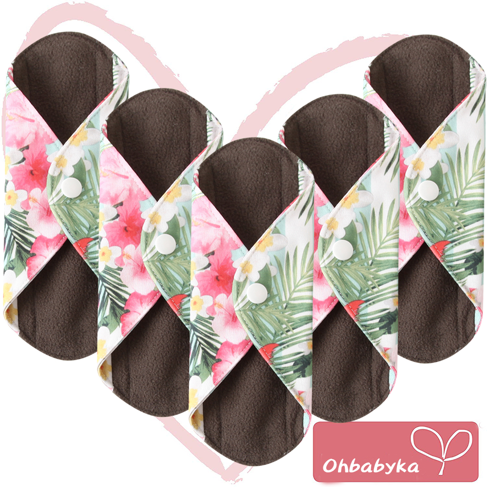 Ohbabyka Reusable Cloth Sanitary Napkins Menstrual Panty Pads with Premium Bamboo and Charcoal Absorbency Mothers Day Gift 5pcs-in Feminine Hygiene Product from Beauty & Health