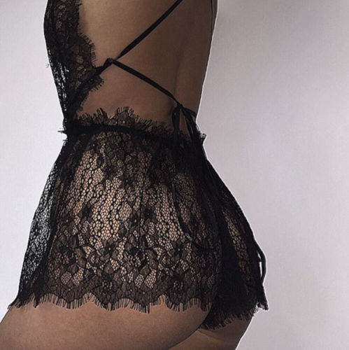 Women Hot Sexy Lingerie Black Striped Crotchless Teddy Fishnet Bodystockings