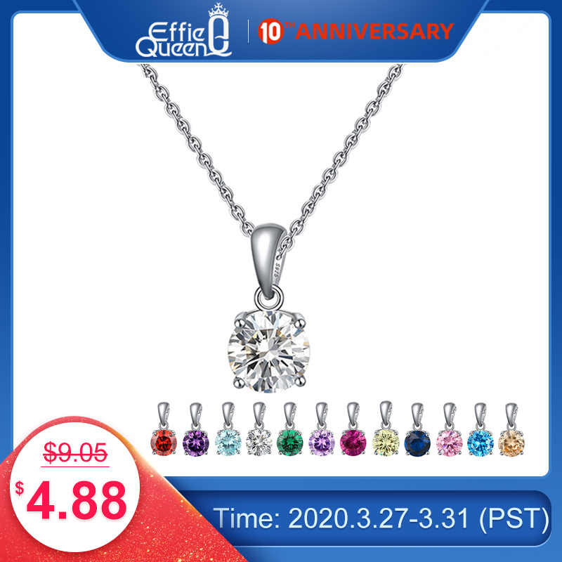 Effie królowa prawdziwe 925 Sterling Silver naszyjnik szczęście Birthstone wielokolorowy cyrkonie stadniny naszyjniki kobiety biżuteria BN118
