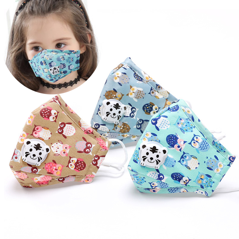 Cute PM2.5 Washable Mouth Mask With Valve Kids Children Anti Haze Dust Mask Nose Filter Face Muffle Bacteria Flu Masks