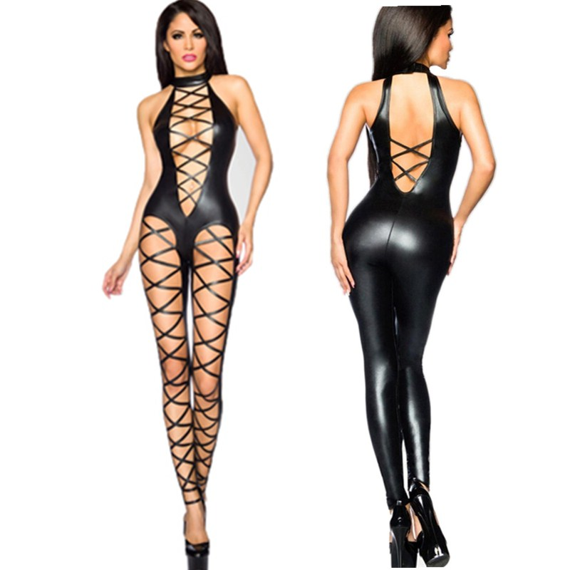 Women Pvc Catsuit Sexy Black Bandage Catsuit Hollow Out PU Leather Bodysuit Sexy Club Wear Hot Erotic Pole Dance Costumes M7289