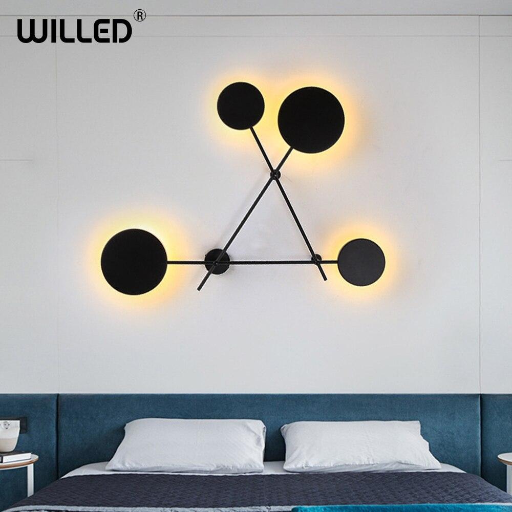 criativo preto personalidade redonda lampada de parede decoracao para casa simples geometrica circular luz do banheiro