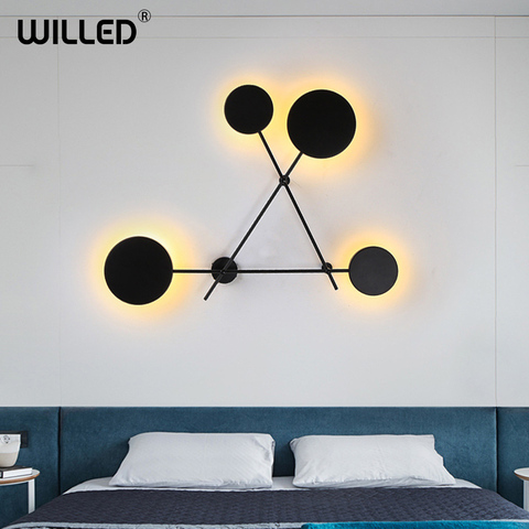 criativo preto personalidade redonda lampada de parede decoracao para casa simples geometrica circular luz do