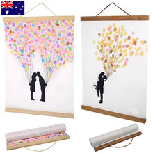 21-60cm Magnetic Wooden Photo Frame Scroll Print / Poster / Picture Hanger DIY Photo Poster Painting Wooden Hanging Home Decor