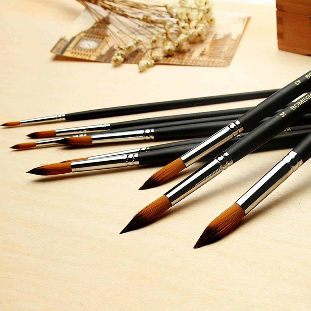 9pcs Watercolor Paint Brushes Gouache Acrylic Painting Brush Pen Long Handle Nylon Pencil Para Pintura Art Supplies