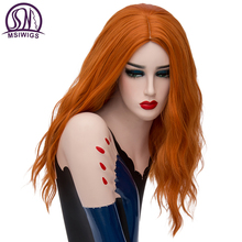 MSIWIGS Long Wavy Orange Wigs Cospaly Blonde Synthetic Wig for White Women High Temperature Fiber Free Hairnet