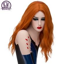 MSIWIGS uzun dalgalı turuncu peruk cosplay sarışın sentetik peruk beyaz kadınlar için yüksek sıcaklık Fiber ücretsiz Hairnet