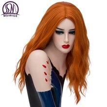 Msiwigs Lange Golvende Oranje Pruiken Cospaly Blonde Synthetische Pruik Voor Witte Vrouwen Hoge Temperatuur Fiber Gratis Haarnetje