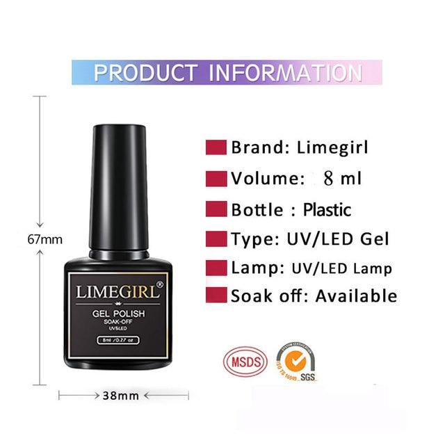 Limegirl Gel Polish Set All For Manicure Semi Permanent Vernis Top Coat UV LED Gel Varnish Soak Off Nail Art Gel Nail Polish 6