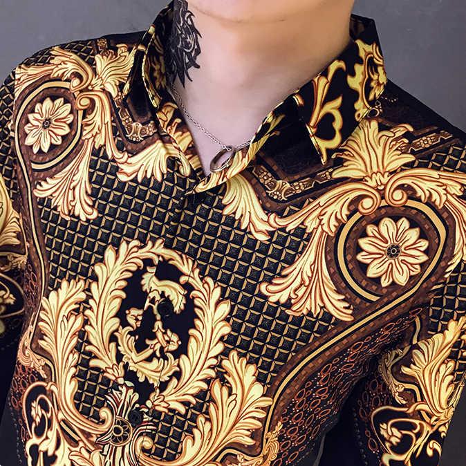 Casual Bluse Homme Barock Bankett Hemd Paisley Schwarz Gold Männer Hemd Luxus Koreanische Mens Langarm Print Shirts Männer Dünne fit
