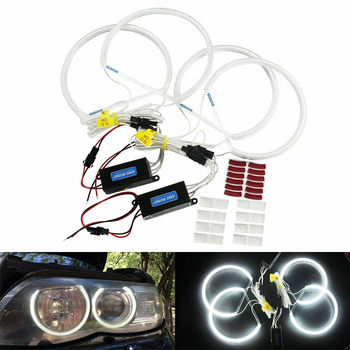 4pc for BMW E36 E38 E39 E46 Projector Ultra Bright SMD White LED Angel Eyes12V Halo Ring Kit Daytime Light 131mm Auto Headlight image
