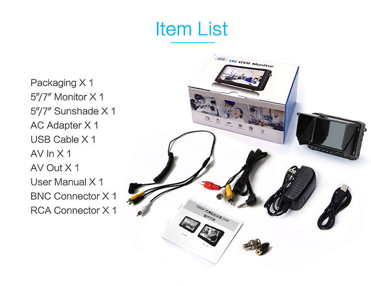 H3e17457525734b4d96099e74866f1a421 - Outdoor 5/ 7 inch AHD DVR monitor recorder (HD TVI/CVI/AHD/CVBS analog 4 in 1) 4 times zoom function