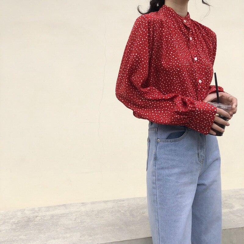 Best Friend-Versatile Simple Loose Polka Dot Chiffon Lace-up Long Short Shirt Dress Long Sleeve Women's