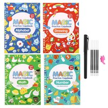 4 Books/Sets of Children's School Copybook 3D Calligraphy Reusable Handwriting Practice Learn Writing English Magic Stationery