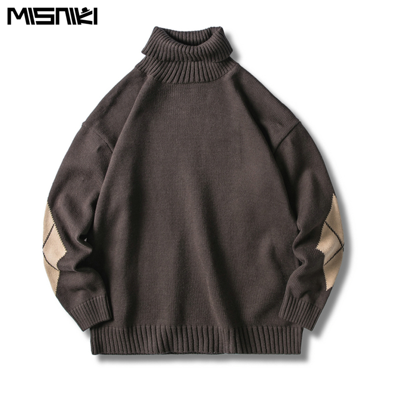 Misniki 2019 Sweaters Men Turtleneck Solid Soft Warm Thicker Knitting Pullover Streetwear Hip Hop Sweaters JP24