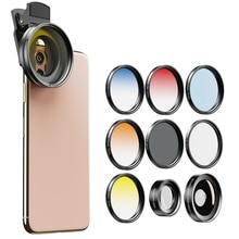 APEXEL 9in1 52mm degrade filtre kamera Lens kiti Grad mavi kırmızı filtre + CPL + ND + yıldız filtresi 0.45x geniş + 15x makro telefon kamera Lens