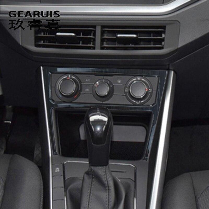 Estilo do carro para vw volkswagen polo 2019 2020 botões interruptor de ar condicionado painel quadro decoração interior cobre adesivos guarnição