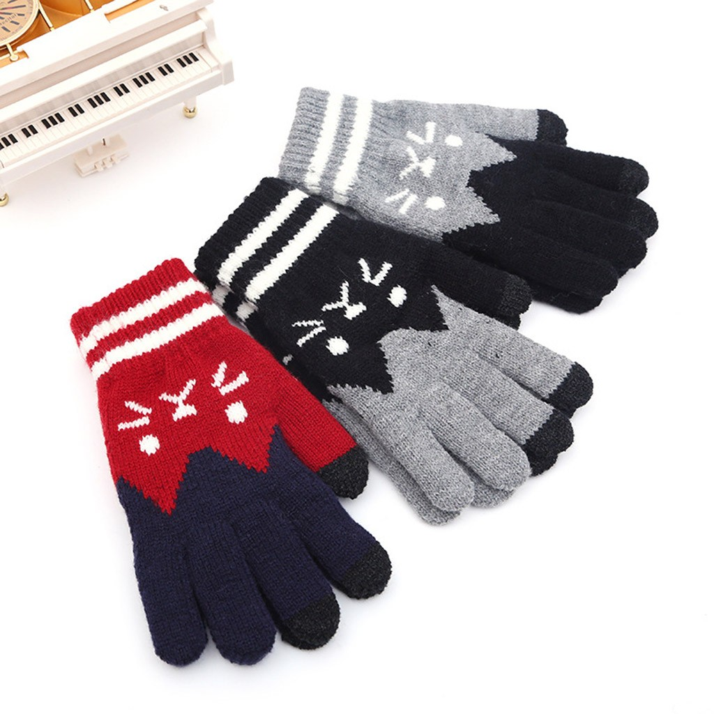 Click-Screen Gloves Winter Full-Finger-Gloves Cat-Print Knitted Warm Women Unisex New title=