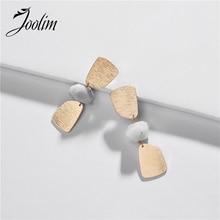 JOOLIM Jewelry Fashion Geo Cut Stone Drop Earring Statement