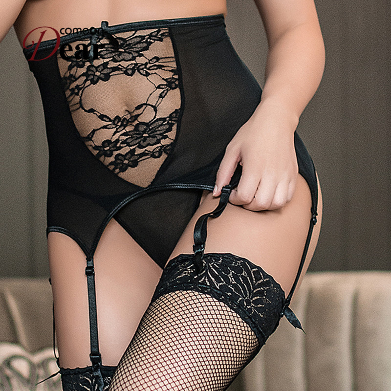 Comeondear Women High Waist Lace Up Garter Panty Sexy Fashion Mesh Suspender Belt Elastic Garter Stocking Plus Size M-5XL PA5140