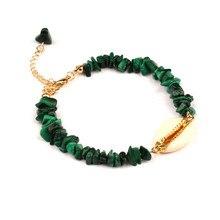 women crystal rose pink quartz bracelet bohemian gold shell Link Chain Bracelet Irregular summer Shell bracelets