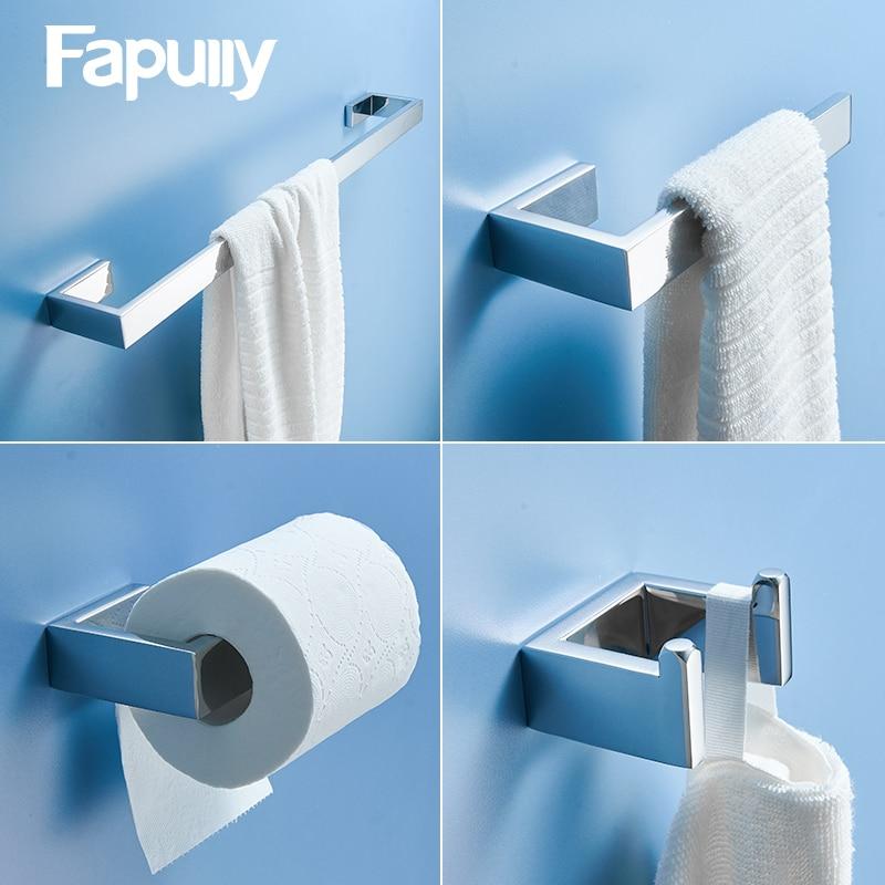 Fapully Mirror Bathroom Accessories Set Chrome 4 Pieces/ Coat Hook Towel Bar Rack Shelf Paper Holder Hardware