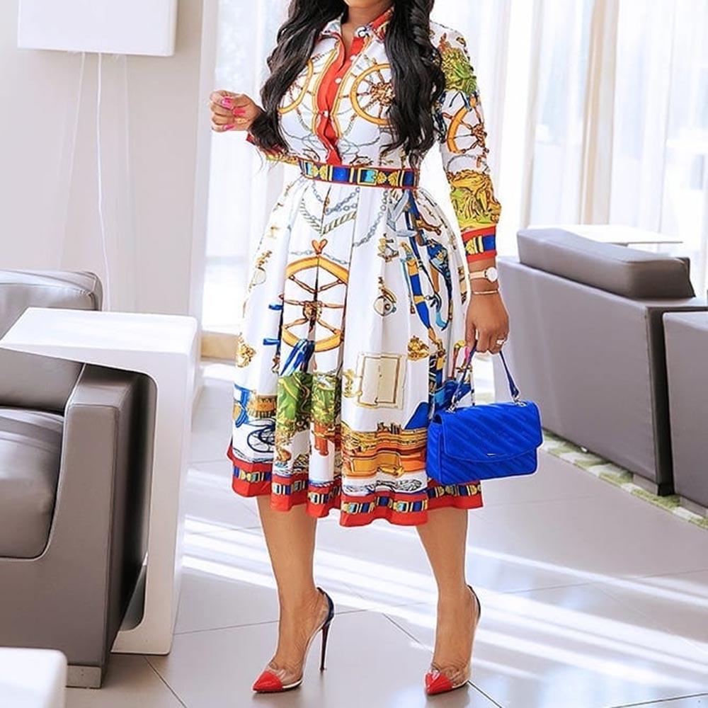 Plus Size Women Pleated Dresses Robe High Waist 2019 African Elegant Geometric Printed OL Workwear Tunic Midi Femme Vestiods