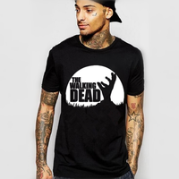 С изображениями из сериала «Ходячие мертвецы» фильм футболка Paparazzi Рик Граймс Карл мишонн, Дэрил зомби мужские, модные, брендовые футболки д...