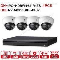Dahua 6MP 8+4 Security CCTV System 4Pcs 6MP POE Zoom IP Camera IPC-HDBW4631R-ZS & 8POE 4K NVR NVR4208-8P-4KS2 Surveillance Kits
