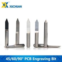 10pcs 45/60/90 Degrees Flat Bottom PCB Engraving Bit For PCB Machine V Shape 3D Milling Cutter Tungsten Carbide Engraving Bit