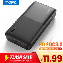 TOPK powerbank przenośny akumulator zewnętrzny 20 000 mAh USB-C technologia PD 3 0 Quick Charge 3 0 szybkie ładowanie do Xiaomi tanie tanio Bateria litowo-polimerowa Wbudowane przewody podwójne USB CN (pochodzenie) Micro Usb USB typu C Z tworzywa sztucznego Przenośny power bank