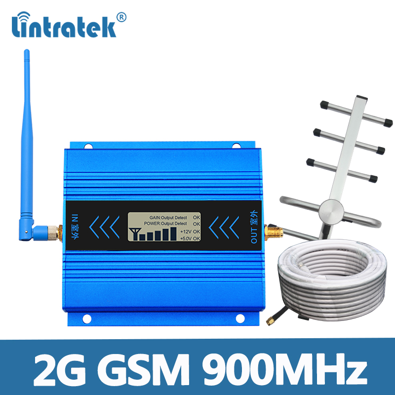 GSM 900Mhz Signal Repeater 2G GSM Booster 900MHz Ampli Mobile Signal Amplifier 65dB LCD Display Full Kit For Voice Signal