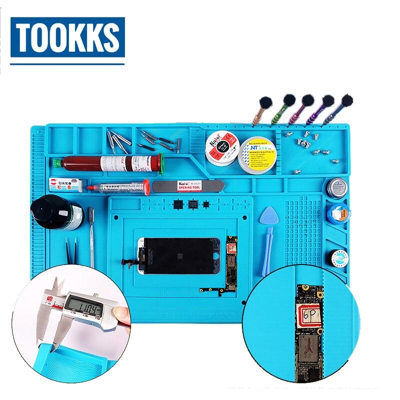 S-180 55x35cm BGA Heat Insulation Silicone Pad Mobile Phone PC Computer Repair Hot Air Gun Station Mat BGA Soldering Repair Tool