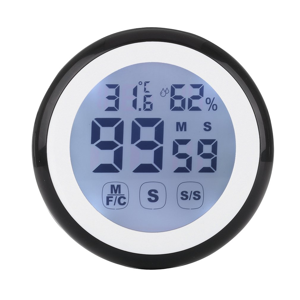 Digital Round LCD Indoor Backlight Touch Screen Hygrometer Time Temperature Humidity Clock Thermometer with Time Alarm