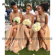 2021 Plus Size Champagne Bridesmaid Dresses Long Appliques Beaded Wedding Party Gown Side Slit Women African Bridesmaid Dresses