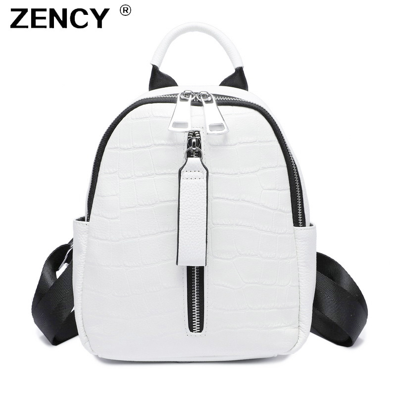 ZENCY 2019 Small Summer Soft Natural Genuine Leather First Layer Cow Leather Women Backpack Ladies Cowhide White Backpacks Bags