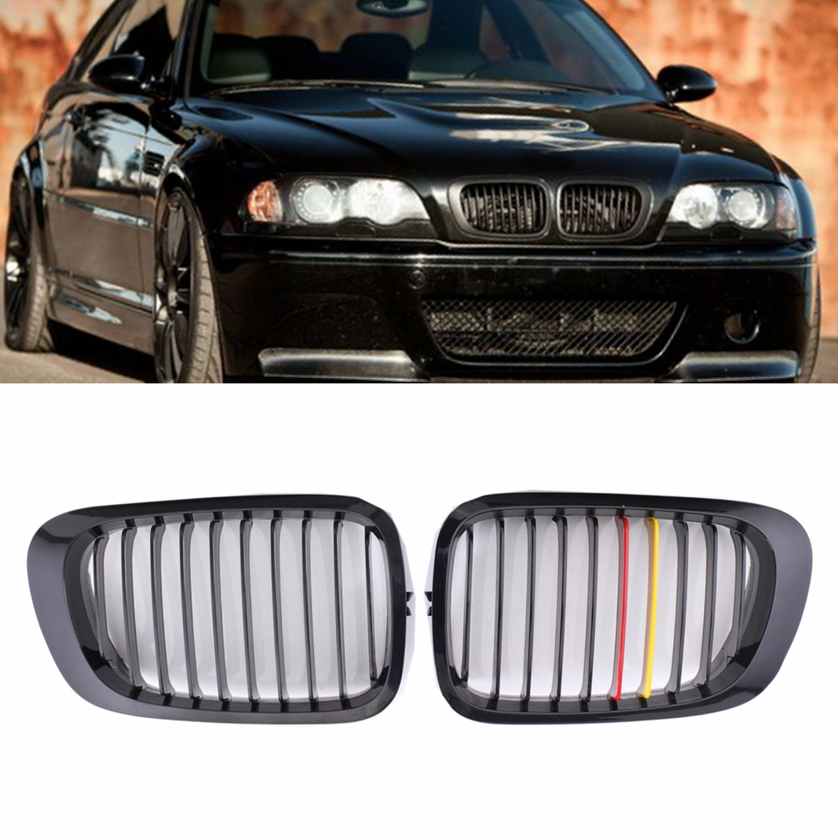 Pair Chrome Car Front Kidney Grille Grill For <font><b>BMW</b></font> E46 <font><b>325Ci</b></font> 330Ci 3-Series M3 2 Doors 1999 2000 2001 2002 2003 2004 2005 <font><b>2006</b></font> image