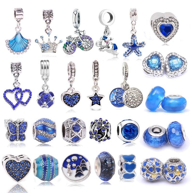 Boosbiy 2pc 45 estilos cor azul cristal coração estrela contas encantos para mulher ajuste pandora pulseiras & colares jóias presente