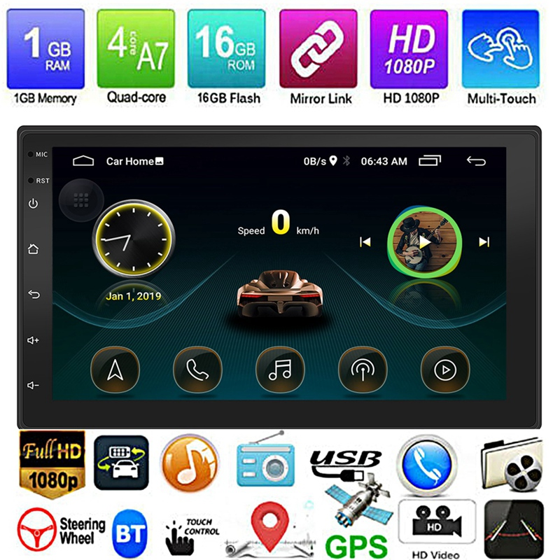 New Android 8.1 GPS Navigation WiFi 7 Inch 2Din Eight Core Car Stereo MP5 FM Player 9999