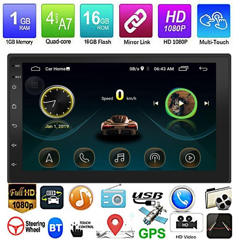Nowy Android 8.1 GPS nawigacja wifi 7 Cal 2Din ośmiordzeniowe samochodowe stereo MP5 odtwarzacz fm 9999
