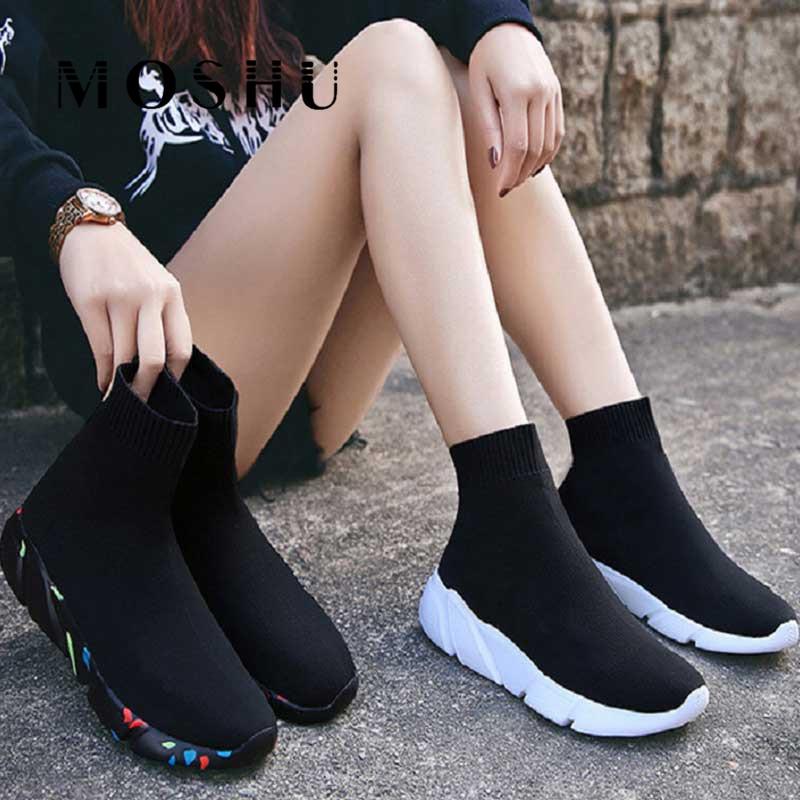 Fashion Sneakers Women Socks Shoes Knit Vulcanized Shoes Female Trainers Women Slip-on Stretch Platform Shoes Black Sneaker 2020