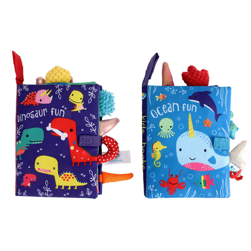 Early Childhood Education Cloth Book Parent-child Interactive Sound Paper Baby Book Washable Dinosaur Ocean Tail Cloth Book Toy