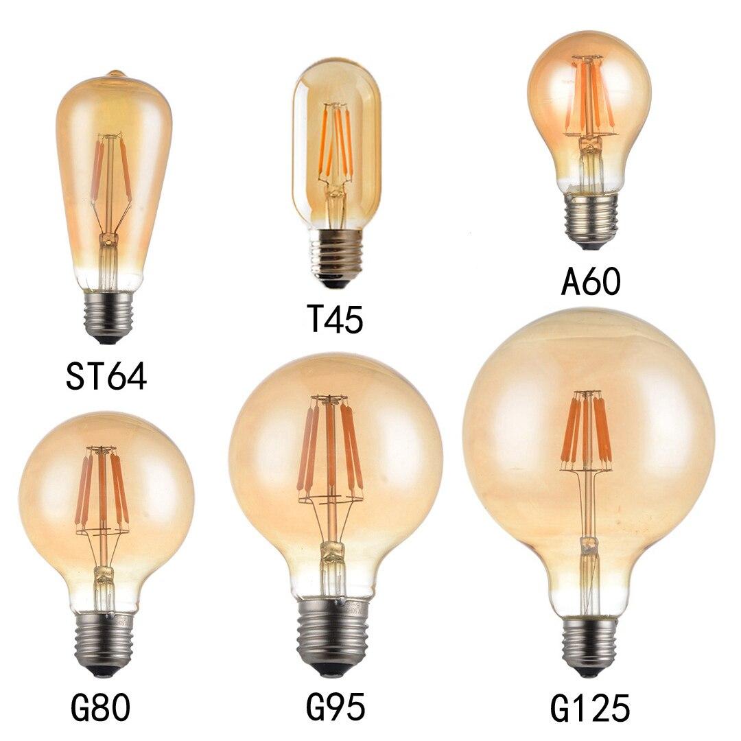 Светодиодная лампа Эдисона в стиле ретро, E27, 220 В, 4 Вт, 6 Вт, 8 Вт