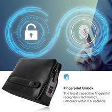 Fipilock FL-V1 мужской кожаный кошелек на молнии, умный защитный чехол с отпечатком пальца и защитой от кражи, черная сумка Cerradura Inteligente