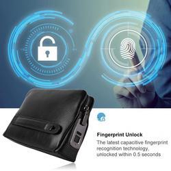 Fipilock-pochette en cuir pour hommes | Pochette intelligente avec fermeture éclair, sac à main antivol avec empreinte digitale et sécurité, noir