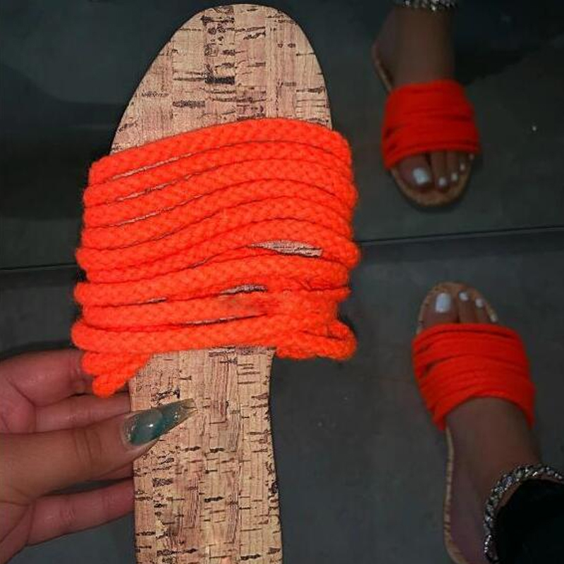 Candy Color Home Slipper Spring And Summer 2020 New Women Hemp Rope Strap Flat Bottom Casual Durable Slipper Outdoor Wild Sandal