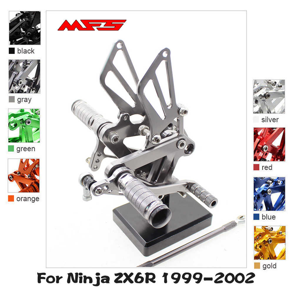 Adjustable Rearsets for KAWASAKI NINJA ZX6R ZX636 2005 2006 Motorcycle Accessories Foot Pegs Footrests Rear Set ZX-6R Black Version 2.0 Arashi